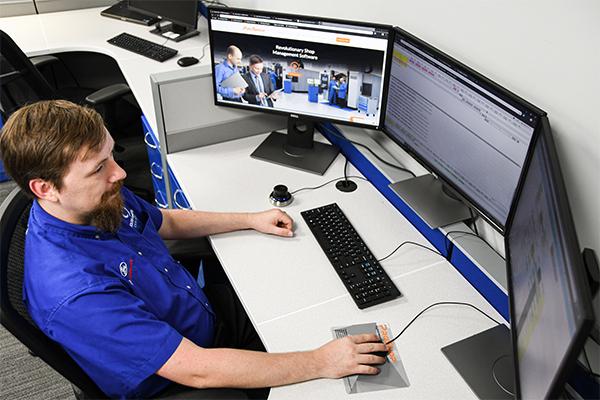 Malcolm Pruitt's workstation using Proshop ERP Software