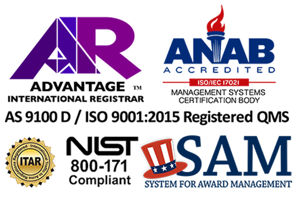 AS 9100 / ISO 9001 Logo graphic wiht NIST, ANIAB and SAM