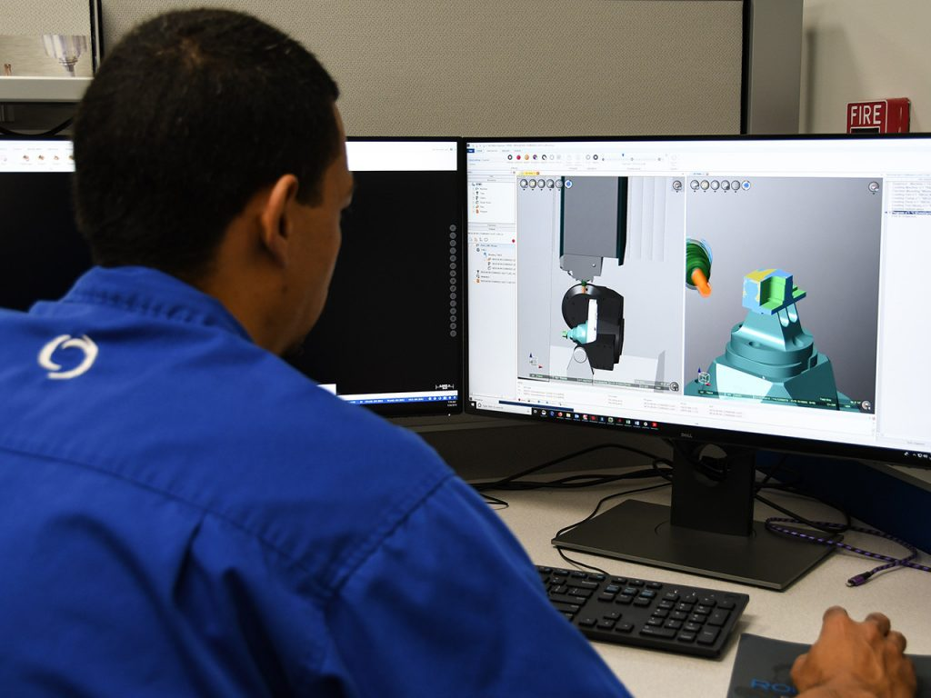 Joey Pendleton running Mastercam simulation software
